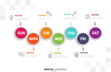 Time line, Timeline business for 7 day, week, Timeline infographics design vector and Presentation business can be used for Business concept with 7 options, steps or processes. Illustration