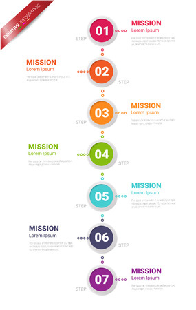7 options, Timeline infographics design vector and Presentation business can be used for Business concept with 7steps or processes. Ilustración de vector