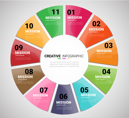 Template for cycle diagram, graph, presentation and round chart. Business concept with 11 equal options, parts, steps or processes. Startup layout for your project.
