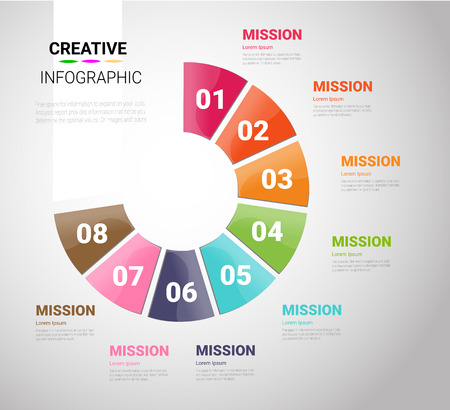 Template for cycle diagram, graph, presentation and round chart. Business concept with 8 equal options, parts, steps or processes. Startup layout for your project.
