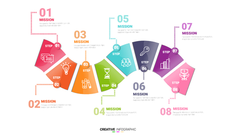 Vector infographic. Template for cycle diagram, graph, presentation and round chart. Business concept with 8 options, parts, steps or processes. Data visualization.