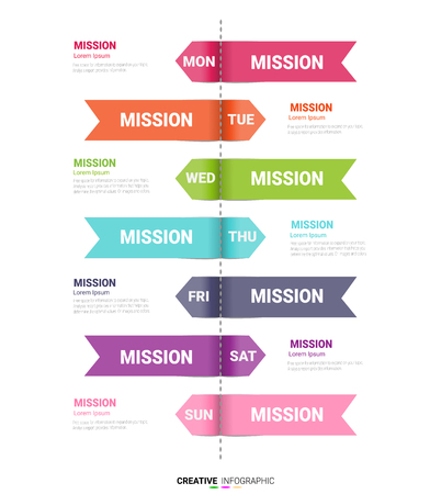 Time line, Timeline business for 7 day, week, Timeline infographics design vector and Presentation business can be used for Business concept with 7 options, steps or processes. Ilustração
