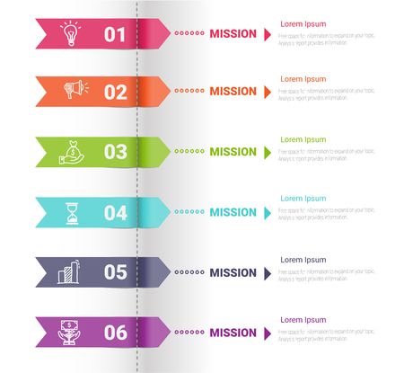 Infographic template with numbers six option can be used for workflow layout, diagram, number step up options.