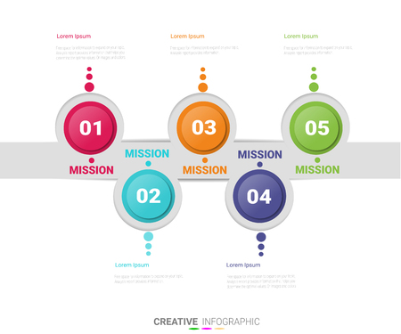 Presentation infographic template with 5 options, vector infographics design and marketing icons can be used for workflow layout, steps or processes. Ilustração