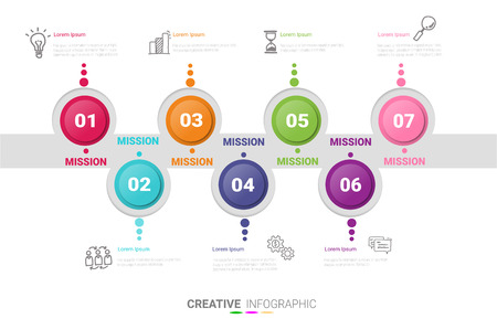 7 options, Timeline infographics design vector and Presentation business can be used for Business concept with 7steps or processes. Ilustração