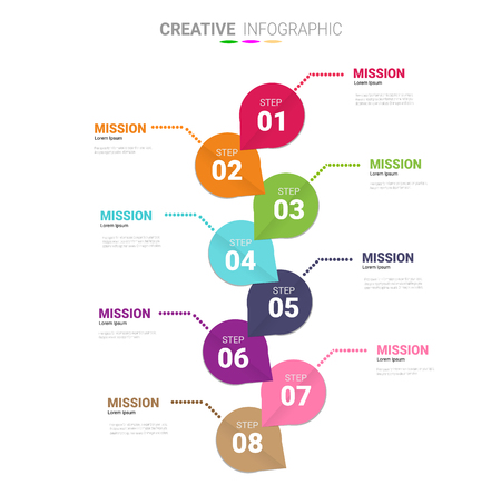 Vector infographic. Template for cycle diagram, graph, presentation and round chart. Business concept with 8 options, parts, steps or processes. Data visualization. Vector Illustration