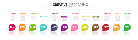 Time line for 1 year, 12 months, Timeline infographics design vector 12 steps and Presentation business can be used for Business concept with 12 options, steps or processes. Ilustração