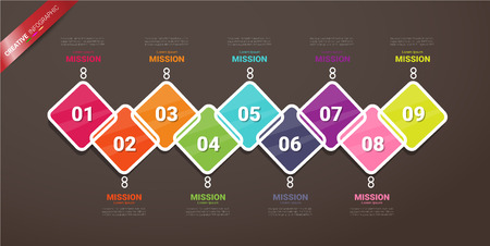 Presentation business infographic template, Abstract infographics number options template with 9 steps. Vector illustration. Ilustração