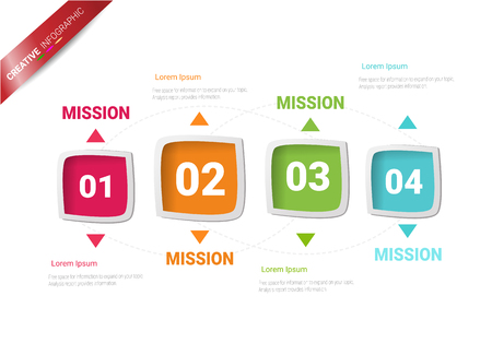 Timeline Infographics Template, Vector infographics timeline design template with 4 label, Vector. can be used for workflow layout, diagram, number step up options.