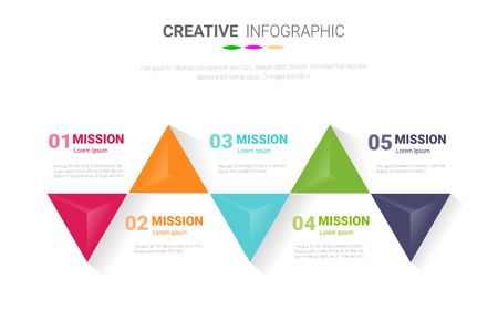 Presentation business infographic template, Abstract infographics number options template with 5 steps. Vector illustration.