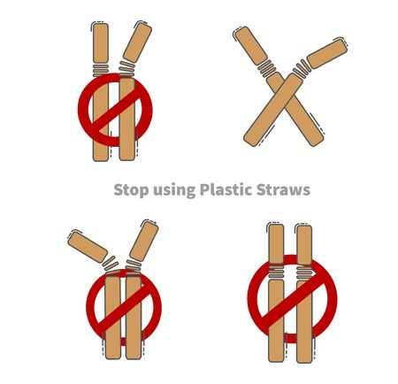 Stop using Plastic straws, Stop plastic pollution on sea, the refusal of disposable plastic drinking straws, vector illustration. Reklamní fotografie - 130988286