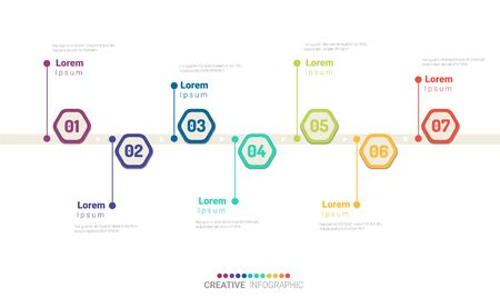 Timeline infographics design vector and Presentation business can be used for Business concept with 7 steps or processes. 版權商用圖片 - 133456384