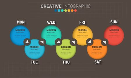 weekly planner, Timeline business for 7 day, Presentation business can be used for Business concept with 7 options, steps or processes. Ilustrace