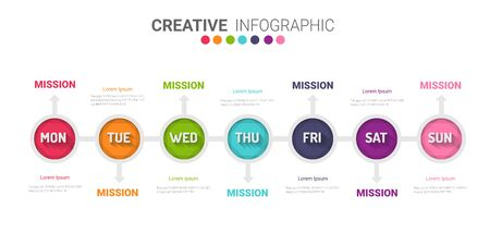 Timeline, Timeline business for 7 day, week, Timeline infographics design vector and Presentation business can be used for Business concept with 7 options, steps or processes. Ilustrace