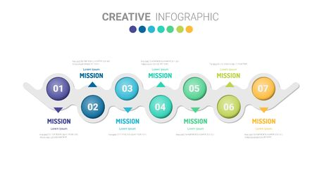 Timeline infographics design vector and Presentation business can be used for Business concept with 7steps or processes.