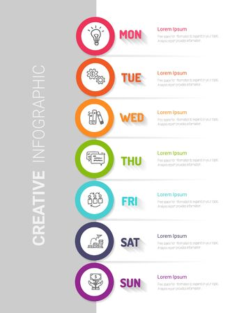 weekly planner, Timeline business for 7 day, Presentation business can be used for Business concept with 7 options, steps or processes. 向量圖像