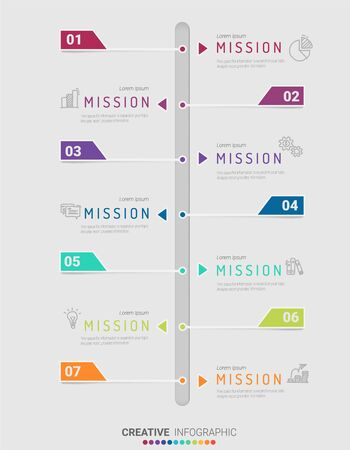 Timeline infographics design vector and Presentation business can be used for Business concept with 7 steps or processes. 版權商用圖片 - 133340708