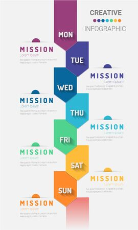 weekly planner, Timeline business for 7 day, Presentation business can be used for Business concept with 7 options, steps or processes. 版權商用圖片 - 133339760