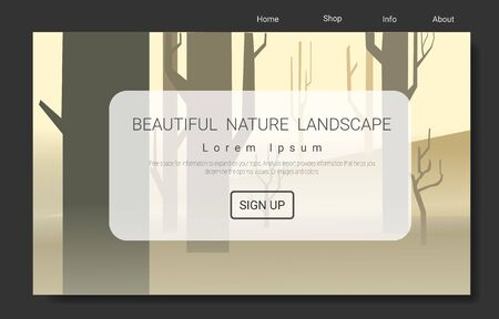 Landing page with vector minimalist landscape for Mountain and Traveling Vector Illustration