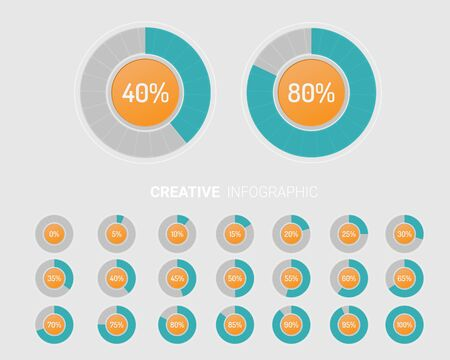 Set of circle percentage diagrams from to 100 ready-to-use for web design, user interface (UI).
