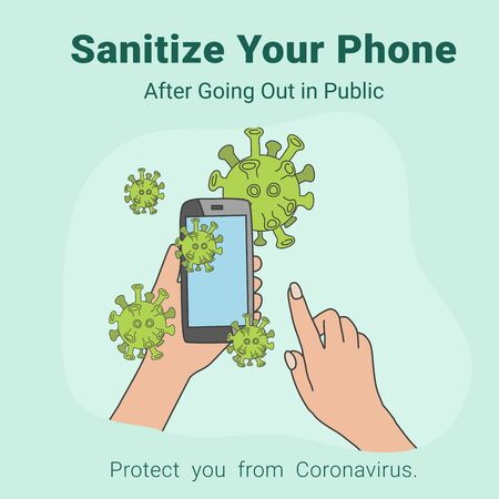 Clean phone, Sanitizer frequently to protect yourself from COVID-19, coronavirus. Vector illustration. Illusztráció
