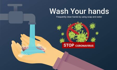 Washing your hands with soap and water, flat style COVID-19 illustration