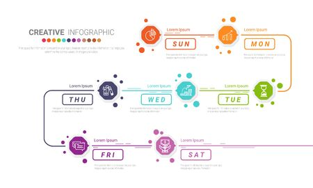 Time line, Timeline business for 7 day, week, Timeline infographics design vector and Presentation business can be used for Business concept with 7 options, steps or processes.