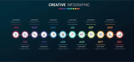 Timeline-Präsentation für 12 Monate, 1 Jahr, Timeline-Infografik-Designvektor und Präsentationsgeschäft können für das Geschäftskonzept mit 12 Optionen, Schritten oder Prozessen verwendet werden.