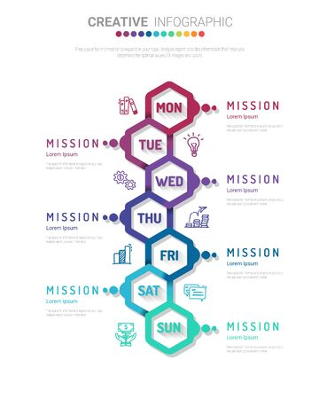weekly planner, Timeline business for 7 day, Presentation business can be used for Business concept with 7 options, steps or processes. Ilustracja