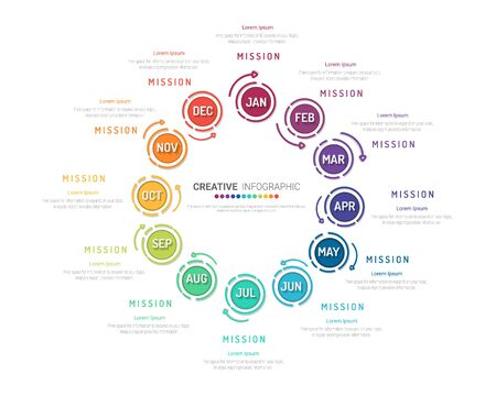 Circle chart infographic template with 12 months, 1 year, Presentation business can be used for Business concept with 12 options, steps or processes.