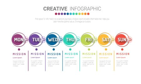 Time line, Timeline business for 7 day, week, Timeline infographics design vector and Presentation business can be used for Business concept with 7 options, steps or processes. Ilustracja