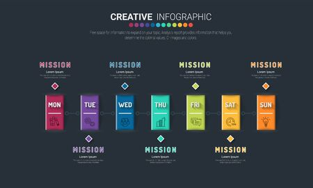 Timeline business for 7 day, 7 options, Timeline infographics design vector and Presentation business can be used for Business concept with 7steps or processes. Vecteurs