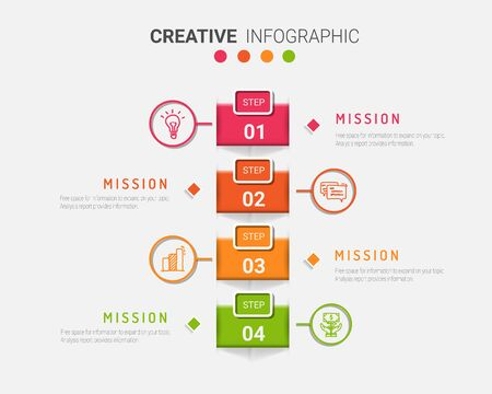 Colorful template business concept timeline arrows. Infographics layout with 4 steps, workflow history with diagram ,presentation and graph.