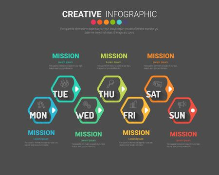 Presentation business concept with 7steps for week, Timeline business for 7 day, Can be used for workflow layout, diagram, business step options, banner, web design. Vector eps 10. Ilustracja