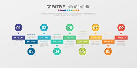 Modèle d'infographie d'entreprise de présentation, modèle d'options de numéro d'infographie abstraite avec 9 étapes. Illustration vectorielle. Vecteurs