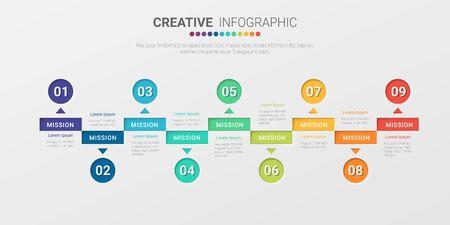 Modello di infografica aziendale di presentazione, modello di opzioni di numero di infografica astratta con 9 passaggi. Illustrazione vettoriale. Vettoriali