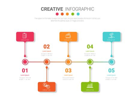 Infographic design template with numbers 5 option can be used for workflow layout, diagram, number step up options. Ilustracja