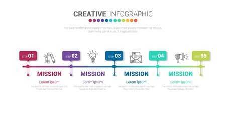 Presentation infographic template with 5 options, vector infographics design and marketing icons can be used for workflow layout, steps or processes. Ilustracja