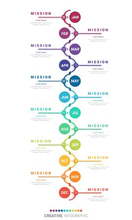 Timeline for 1 year, 12 months, infographics month planner design vector 12 steps and Presentation business can be used for Business concept with 12 options, steps or processes. Vector Illustratie