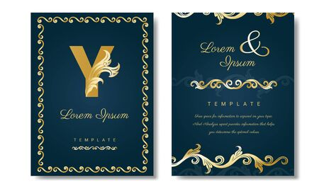 Vintage gold rectangle frame Luxury with floral corner decoration, vector wedding invitation or name card template, Poster, page, banner, brochure, template. Vector illustration.
