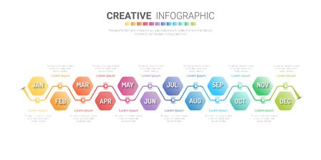 Timeline business for 12 months, 1 year, Timeline infographics design vector and Presentation business can be used for Business concept with 12 options, steps or processes.