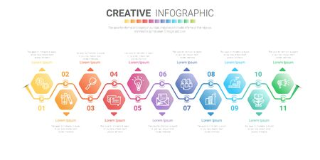 Infographic design template with numbers 11 option for Presentation infographic, Timeline infographics, steps or processes. Vector illustration. Ilustracja