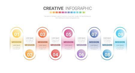 Presentation business infographic template, Abstract infographics number options template with 9 steps. Vector illustration. Ilustracja