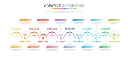 Timeline presentation for 12 months, 1 year, Timeline infographics design vector and Presentation business can be used for Business concept with 12 options, steps or processes. Ilustracja