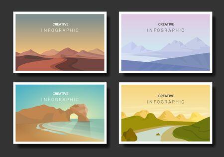 landscape illustration set, Vector banners set with polygonal landscape illustration, Minimalist style.