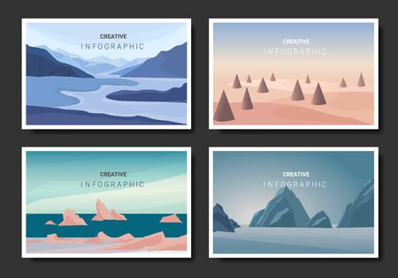 Vector landscape background in a flat style. Natural wallpapers are a minimalist, polygonal concept.