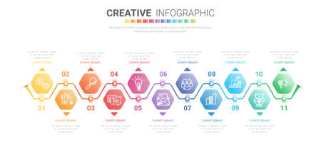 Infographic design template with numbers 11 option for Presentation infographic, Timeline infographics, steps or processes. Vector illustration. Vectores