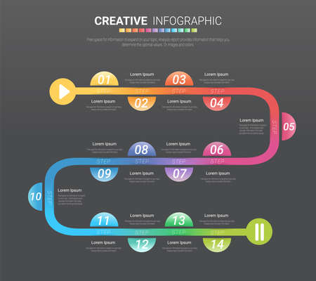 Infographic design template with numbers 14 option for Presentation infographic, Timeline infographics, steps or processes. Vector illustration.