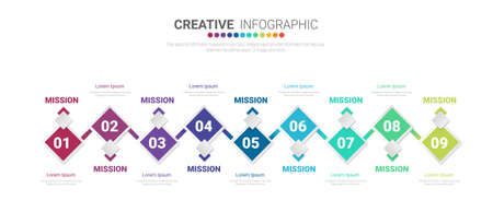 Infographic design elements for your business with 9 options, parts, steps or processes, Vector Illustration.