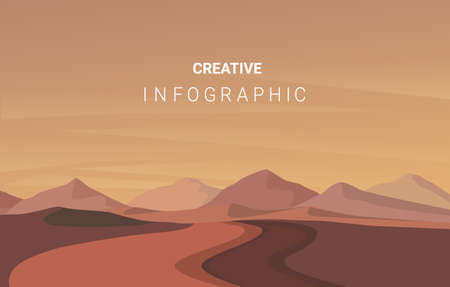 landscape illustration, Vector banners with polygonal landscape illustration, Minimalist style.